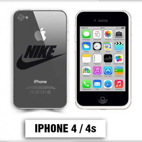 Coque transparente Iphone 4 Nike noir