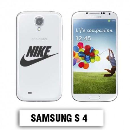 Coque transparente Samsung S4 Nike noir
