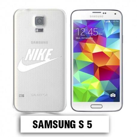 Coque transparente Samsung S5 Nike blanc