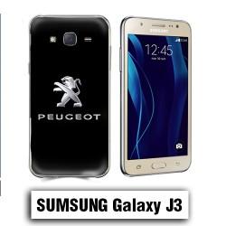 Coque Samsung J3 Logo Peugeot Noire metal
