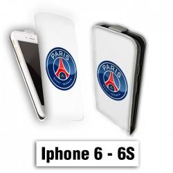 Etui cuir à rabat vertical Iphone 6 6S logo Paris Saint Germain