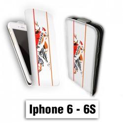 Etui cuir à rabat vertical Iphone 6 6S logo Nike Blanc