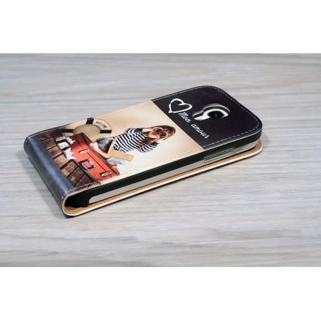 Etui Galaxy S4 mini personnalisé à clapet en cuir
