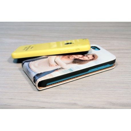 Etui iPhone 5C personnalisé à clapet en cuir