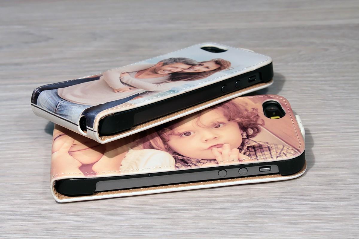 Etui iPhone SE personnalisé à clapet en cuir